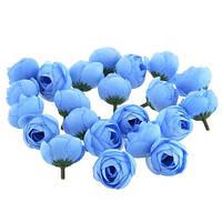 Цветы роза Ранункулюса Голубые из ткани 3.5 см 1 шт