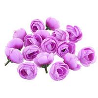 Цветы роза Ранункулюса Сиреневые из ткани 3.5 см 1 шт