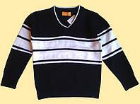 Джемпер детский вязанный, черный с белыми полосками