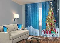 """ФотоШторы """"Елка в снегу с подарками"""" 2,5м*2,0м (2 половинки по 1,0м), тесьма"""
