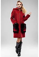 Красивое пальто женское с меховыми карманами в 5ти цветах М-048