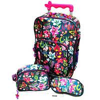 """Комплект детский чемодан - рюкзак дорожный на колесах + сумка + пенал """"Josef Otten"""" Бабочки, цветы 520221"""