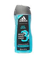 Гель для душу чоловiчий 3в1 Adidas Ice Dive 250мл. Iспанiя