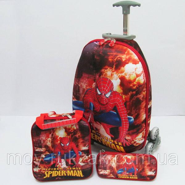 Набор детский чемодан на 6 колесах + сумка + пенал, Spider Man
