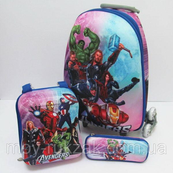 Набор детский чемодан на 6 колесах + сумка + пенал, Avengers Мстители