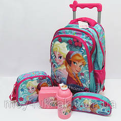 Набор детский чемодан - рюкзак + сумка + пенал + ланчбокс + бутылка, Холодное Сердце Frozen