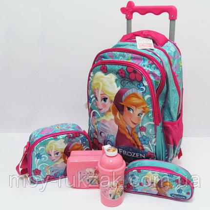Набор детский чемодан - рюкзак + сумка + пенал + ланчбокс + бутылка, Холодное Сердце Frozen , фото 2