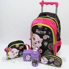 Набор детский чемодан - рюкзак + сумка + пенал + ланчбокс + бутылка, Кошечка