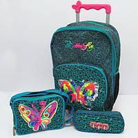 "Набор чемодан - рюкзак детский на колесах + сумка + пенал ""Бабочка"""