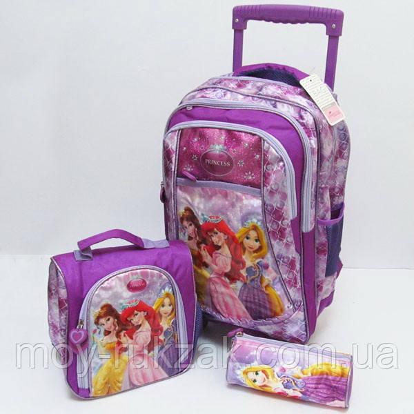 "Набор чемодан - рюкзак детский на колесах + сумка + пенал ""Princess"""