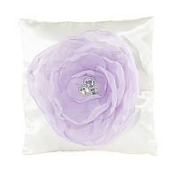 Подушечка для обручальных колец с шифоновым фиолетовым цветком