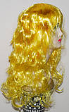 Перука довгий жовтий каскад хвилястий Золотоволоска 62 см, фото 3