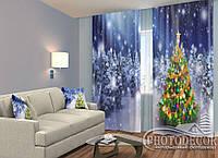 """ФотоШторы """"Новогодняя елка в лесу"""" 2,5м*2,0м (2 половинки по 1,0м), тесьма"""