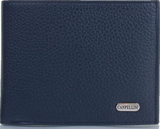 Симпатичный мужской кожаный кошелек CANPELLINI SHI1043-241 темно-синий