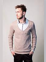 Модный мужской свитер с глубоким вырезом под рубашку, песочный