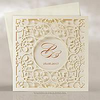 Ажурные свадебные пригласительные цвета айвори
