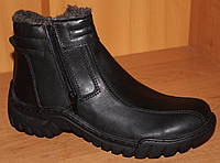 Подростковые зимние ботинки кожаные на змейке, подростковые ботинки зимние обувь кожаная от производителя