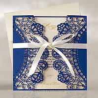Ажурные свадебные пригласительные с лентой, тёмно-синие