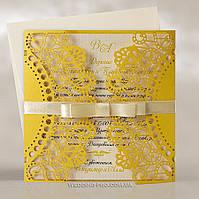 Ажурные свадебные пригласительные с лентой, золотые