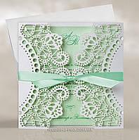 Ажурные свадебные пригласительные с лентой, цвета нежной зелени