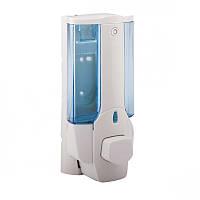 Пластиковый одинарный настенный дозатор(сине-белый)380ml