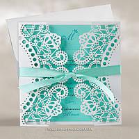 Ажурные свадебные пригласительные с лентой, цвета Tiffany