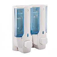 Пластиковый двойной настенный дозатор(сине-белый)760ml