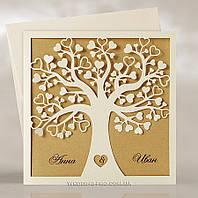 """Пригласительные """"Влюблённое дерево с листками сердечками"""" Крафт"""
