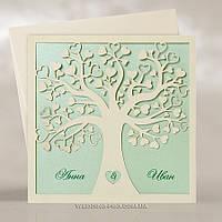"""Пригласительные """"Влюблённое дерево с листками сердечками"""" Нежная зелень"""
