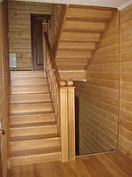 Сходи поворотні з масиву сосни, ясена чи дуба сходи з натурального дерева фото сходів