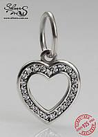 """Серебряная подвеска-шарм Пандора (Pandora) """"Сердце с кубическими циркониями"""" для браслета"""
