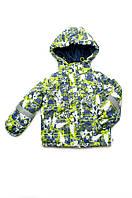 Куртка-жилет для мальчика утепленная зеленая 2в1  от 1,5 года до 4 лет размер 86-104