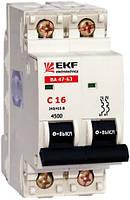 Электрический автомат типа EKF ВА 47-63 2/16А