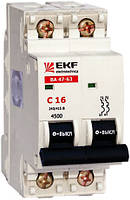 Электрический автомат типа EKF ВА 47-63 2/25А