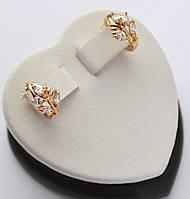 Серьги - кольца Xuping Веточки с цирконами позолота 18к.