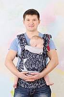 Эргономичный рюкзак My baby синий джинс буквы от 4 мес до 3 лет