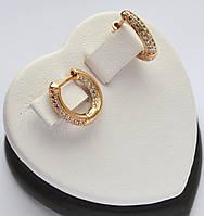 Шикарные серьги - кольца Xuping позолота 18к. с мелкими цирконами