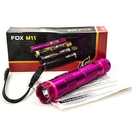 Фонарь ручной Fox М11 (Розовый) светодиодный тактический с аккумулятором металический карманный универсальный, фото 2