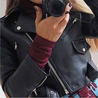 Куртка женская косуха с молниями и карманами чёрная+