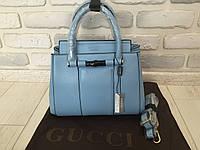 Модная женская кожаная летняя сумочка Gucci нежно-голубая 8821B