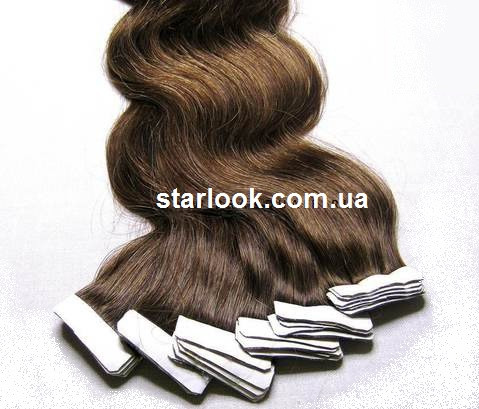 Натуральные вьющиеся волосы для ленточного наращивания 60 см. Оттенок №6.