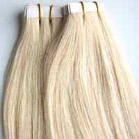 Натуральные волосы для ленточного наращивания 60 см. Оттенок №60., фото 1