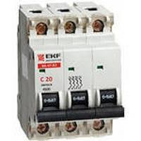 Электрический автомат типа EKF ВА 47-63 3/50А