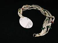 Кулон из кахолонга на ленточке с кусочками яшмы