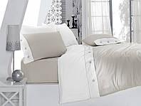Сатиновый однотонный комплект постельного белья ЕВРО размера Cotton Box Fashion GRİ CB05