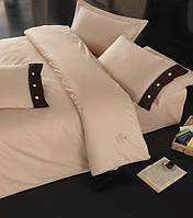 Турецкое постельное бельё евро размера Cotton Box Plain BEJ CB06