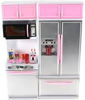 Игровой набор Qun Feng Toys Современная кухня 4 со звуком и светом Розовая 26215P (26215P)