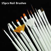 Набор кистей для дизайна и рисования на ногтях, 15 шт/упак