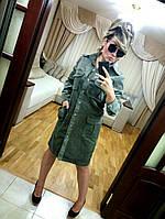 Платье-сафари из стрейчевого микро-вельвета . Арт-8903/75