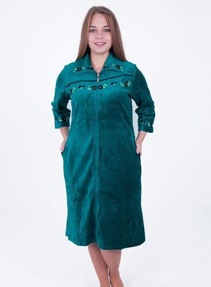 Велюровый женский халат Цветочная вышивка